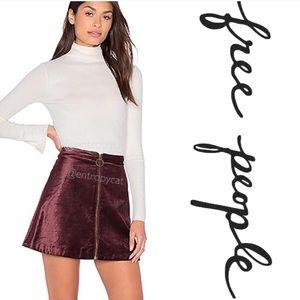 Free people funkytown velvet wine zipper skirt
